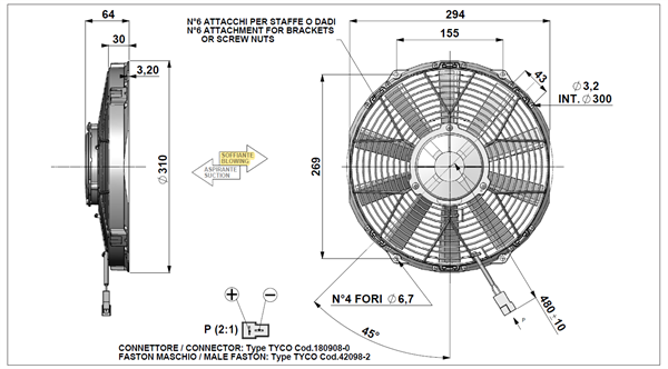 """24 Volt DC Axial blowing Fan (11"""") For HC11 Cooler"""